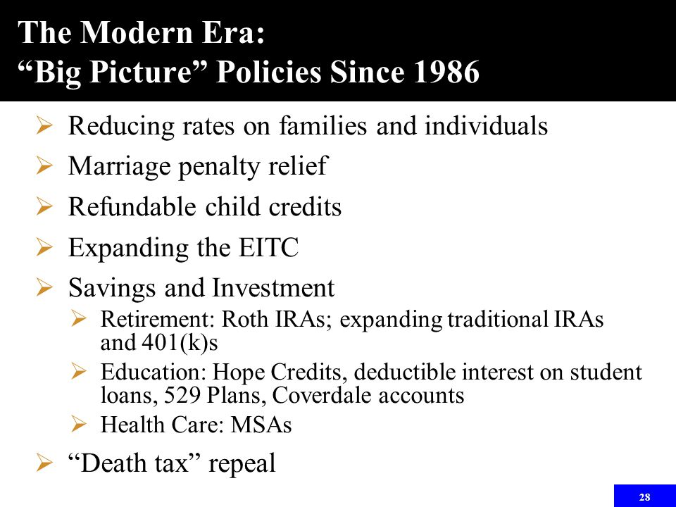 28 The Modern Era: Big Picture Policies Since 1986  Reducing rates on families and individuals  Marriage penalty relief  Refundable child credits  Expanding the EITC  Savings and Investment  Retirement: Roth IRAs; expanding traditional IRAs and 401(k)s  Education: Hope Credits, deductible interest on student loans, 529 Plans, Coverdale accounts  Health Care: MSAs  Death tax repeal