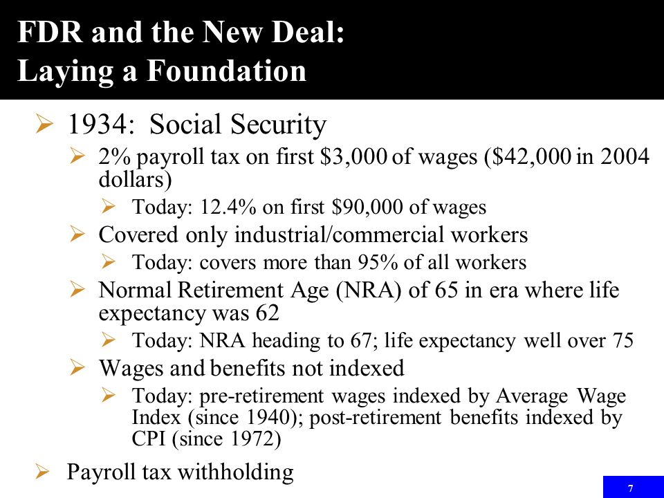 7 FDR and the New Deal: Laying a Foundation  1934: Social Security  2% payroll tax on first $3,000 of wages ($42,000 in 2004 dollars)  Today: 12.4% on first $90,000 of wages  Covered only industrial/commercial workers  Today: covers more than 95% of all workers  Normal Retirement Age (NRA) of 65 in era where life expectancy was 62  Today: NRA heading to 67; life expectancy well over 75  Wages and benefits not indexed  Today: pre-retirement wages indexed by Average Wage Index (since 1940); post-retirement benefits indexed by CPI (since 1972)  Payroll tax withholding