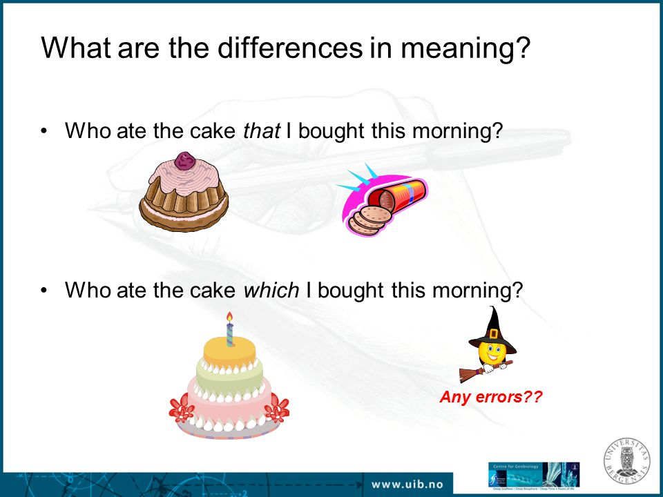 What are the differences in meaning. Who ate the cake that I bought this morning.