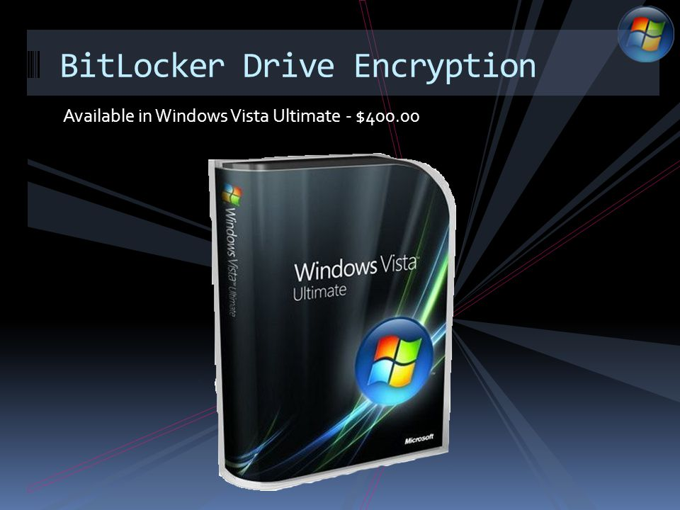 Available in Windows Vista Ultimate - $400.00 BitLocker Drive Encryption