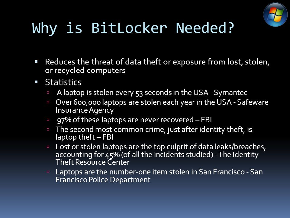 Why is BitLocker Needed.