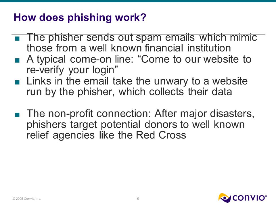 5 © 2005 Convio, Inc. How does phishing work.