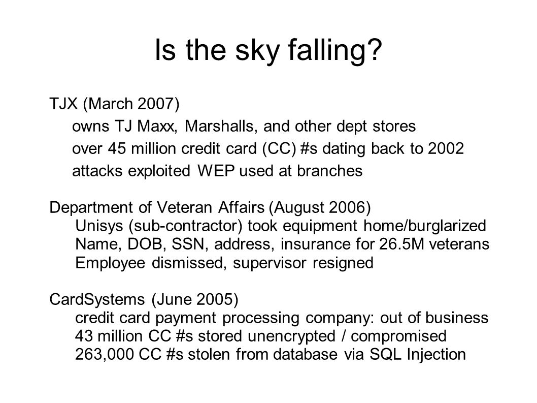 Is the sky falling.