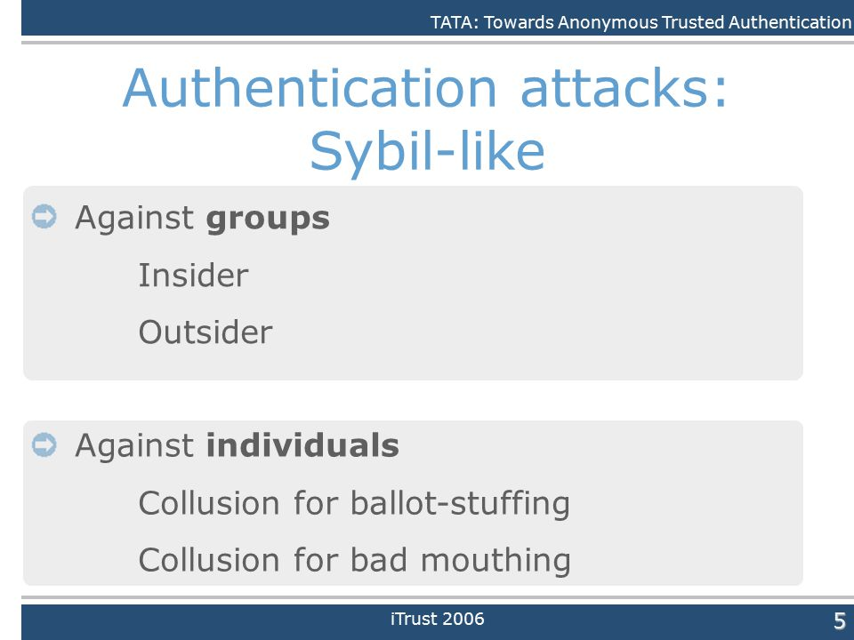 Daniele Quercia5 Authentication attacks: Sybil-like Against individuals Collusion for ballot-stuffing Collusion for bad mouthing Against groups Insider Outsider TATA: Towards Anonymous Trusted Authentication iTrust 2006