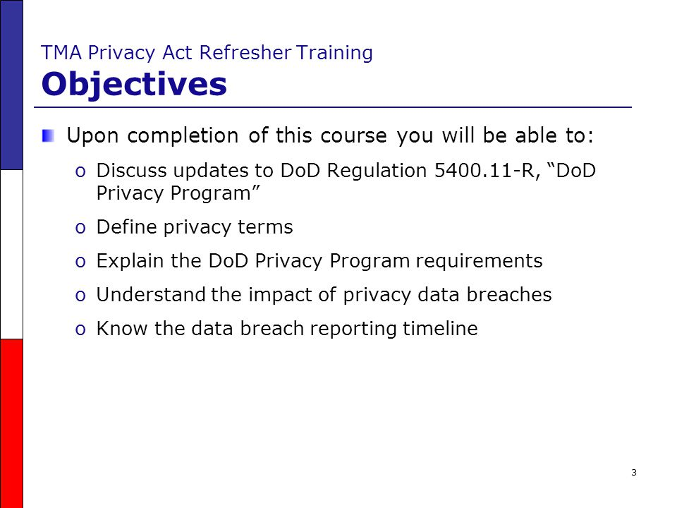 34 DoD Privacy Program Requirements Publication Requirements Four types of documents must be published in the Federal Register: oDoD Component Privacy Procedural Rules oDoD Component Exemption Rules oSystem Notices oComputer Match Notices