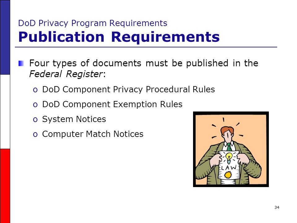 34 DoD Privacy Program Requirements Publication Requirements Four types of documents must be published in the Federal Register: oDoD Component Privacy