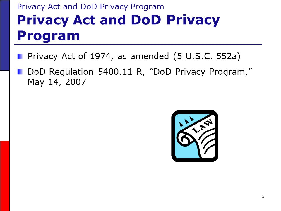 """5 Privacy Act of 1974, as amended (5 U.S.C. 552a) DoD Regulation 5400.11-R, """"DoD Privacy Program,"""" May 14, 2007"""