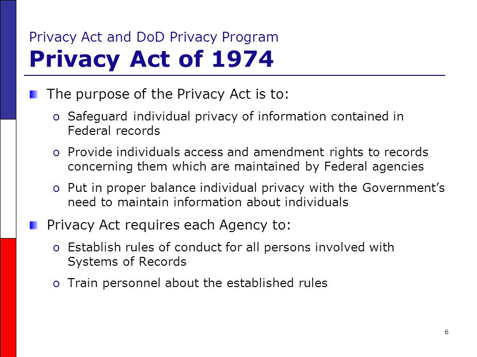 7 Privacy Act and DoD Privacy Program DoD Privacy Program DoD Regulation 5400.11-R, DoD Privacy Program, May 14, 2007 addresses: oCollection of PII oIndividual Access oDisclosure of PII oSystem of Records oComputer Matching Procedures oTraining Requirements oPrivacy Act Violations oReports and Inspections oPublication Requirements