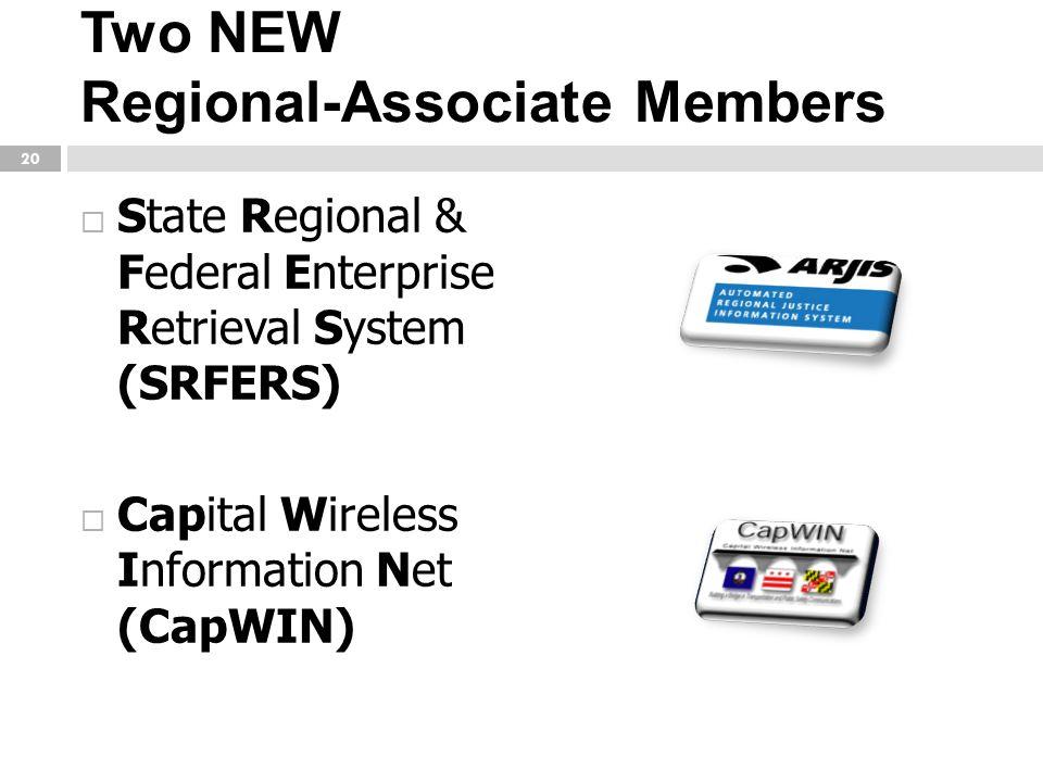 Two NEW Regional-Associate Members  State Regional & Federal Enterprise Retrieval System (SRFERS)  Capital Wireless Information Net (CapWIN) 20