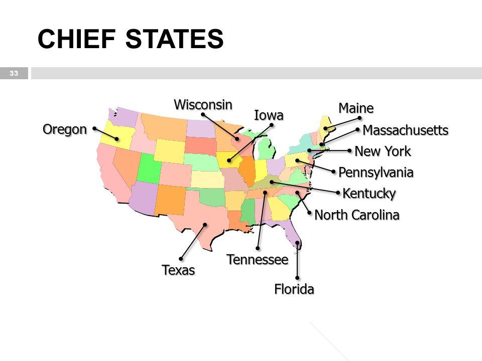 CHIEF STATES 33 Texas Florida Tennessee Maine Iowa Wisconsin Oregon Massachusetts New York Pennsylvania Kentucky North Carolina