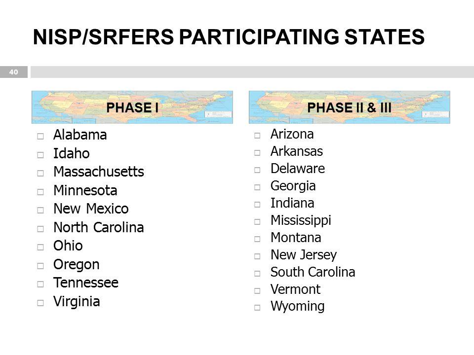 NISP/SRFERS PARTICIPATING STATES  Alabama  Idaho  Massachusetts  Minnesota  New Mexico  North Carolina  Ohio  Oregon  Tennessee  Virginia 