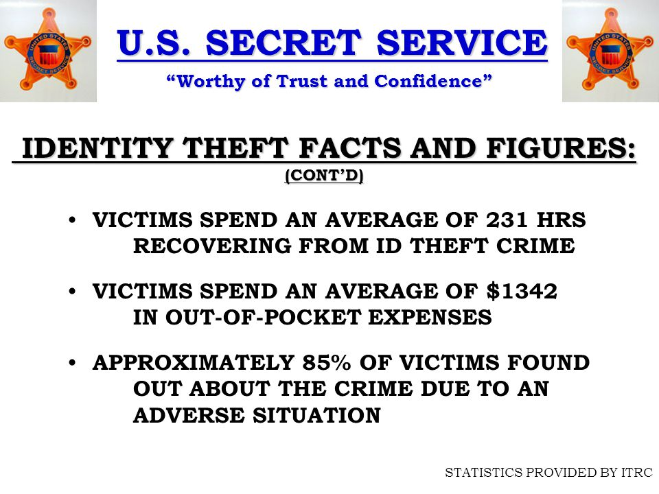 """U.S. SECRET SERVICE """"Worthy of Trust and Confidence"""" STATISTICS PROVIDED BY ITRC IDENTITY THEFT FACTS AND FIGURES: IDENTITY THEFT FACTS AND FIGURES:(C"""