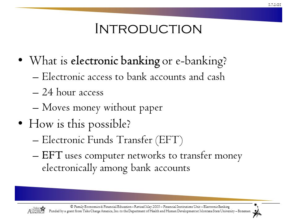 1.7.2.G1 © Family Economics & Financial Education – Revised May 2005 – Financial Institutions Unit – Electronic Banking Funded by a grant from Take Charge America, Inc.