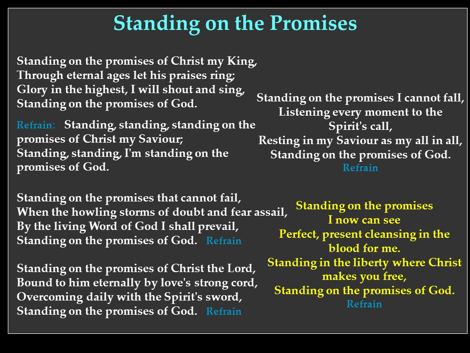 Standing on the Promises Standing on the promises I now can see Perfect, present cleansing in the blood for me. Standing in the liberty where Christ m