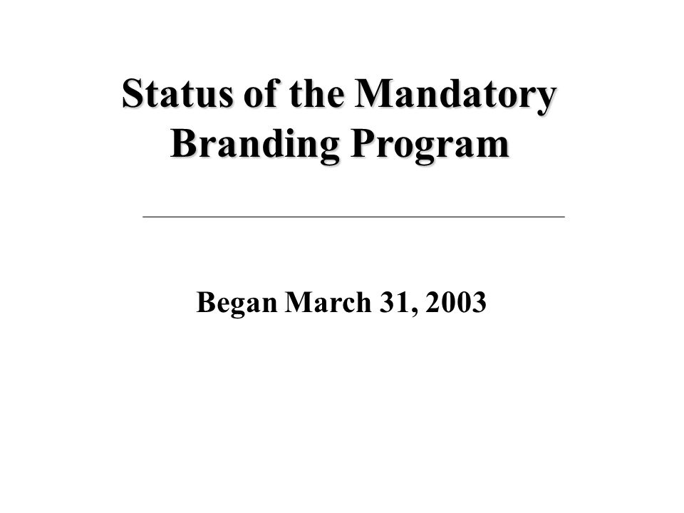 Status of the Mandatory Branding Program  Modifications to MTO Vehicle Registration System (VRS) have been completed.  Brands now appear on registra