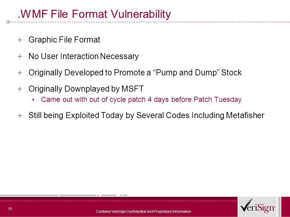 15 Contains VeriSign Confidential and Proprietary Information.WMF File Format Vulnerability + Graphic File Format + No User Interaction Necessary + Originally Developed to Promote a Pump and Dump Stock + Originally Downplayed by MSFT ▪ Came out with out of cycle patch 4 days before Patch Tuesday + Still being Exploited Today by Several Codes Including Metafisher