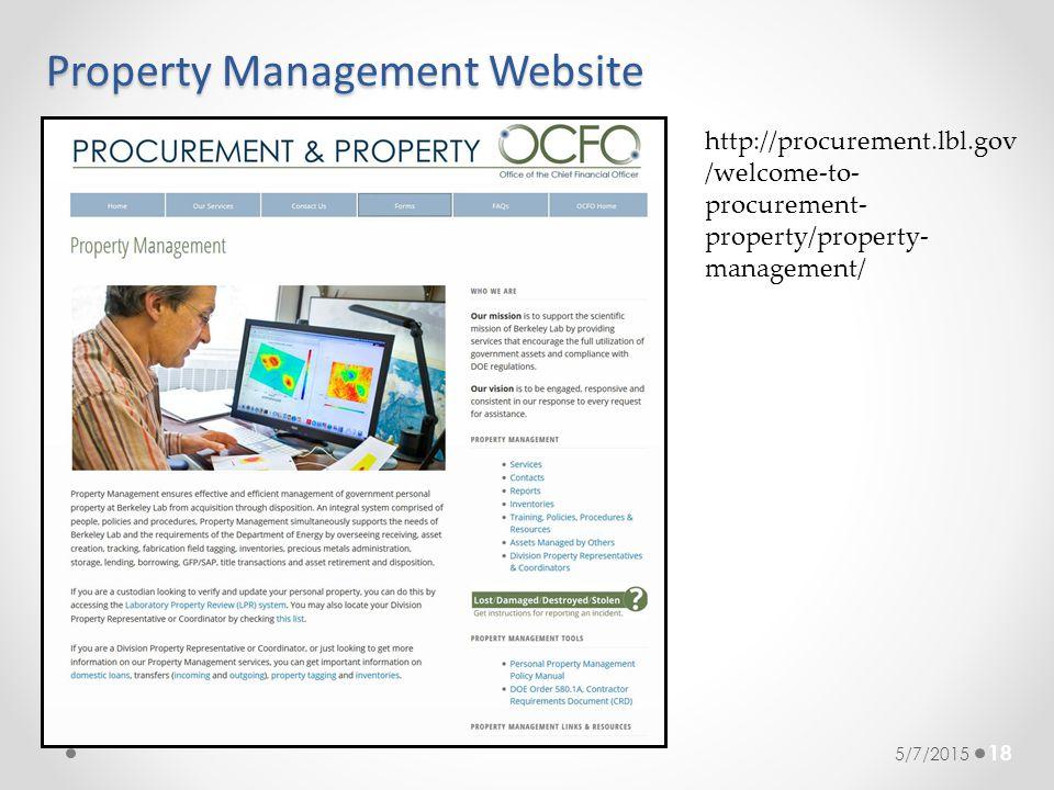 Property Management Website 18 5/7/2015 http://procurement.lbl.gov /welcome-to- procurement- property/property- management/