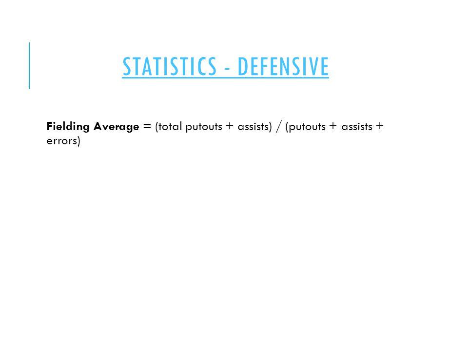 STATISTICS - DEFENSIVE Fielding Average = (total putouts + assists) / (putouts + assists + errors)