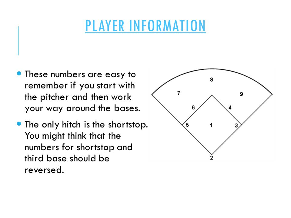 PLAYER INFORMATION These numbers are easy to remember if you start with the pitcher and then work your way around the bases. The only hitch is the sho