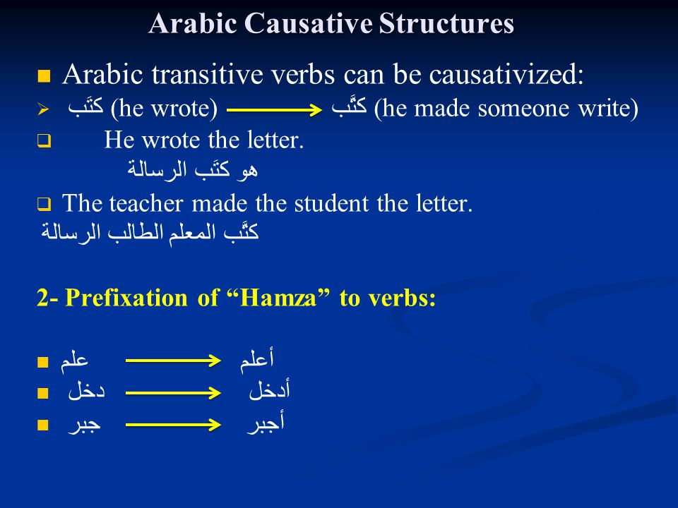 Arabic Causative Structures Arabic transitive verbs can be causativized:   كتَب (he wrote) كتَّب (he made someone write)   He wrote the letter. هو