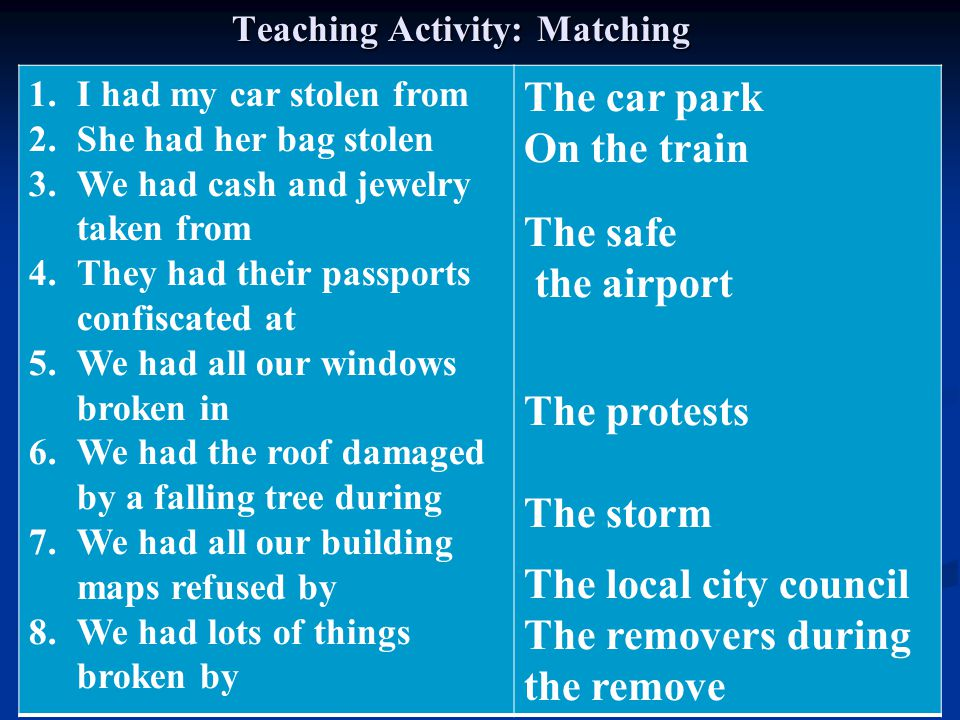 Teaching Activity: Matching The car park On the train The safe the airport The protests The storm The local city council The removers during the remov