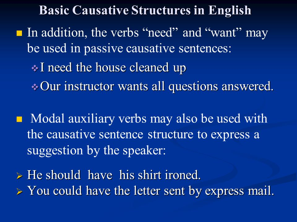 "Basic Causative Structures in English In addition, the verbs ""need"" and ""want"" may be used in passive causative sentences:  I need the house cleaned"