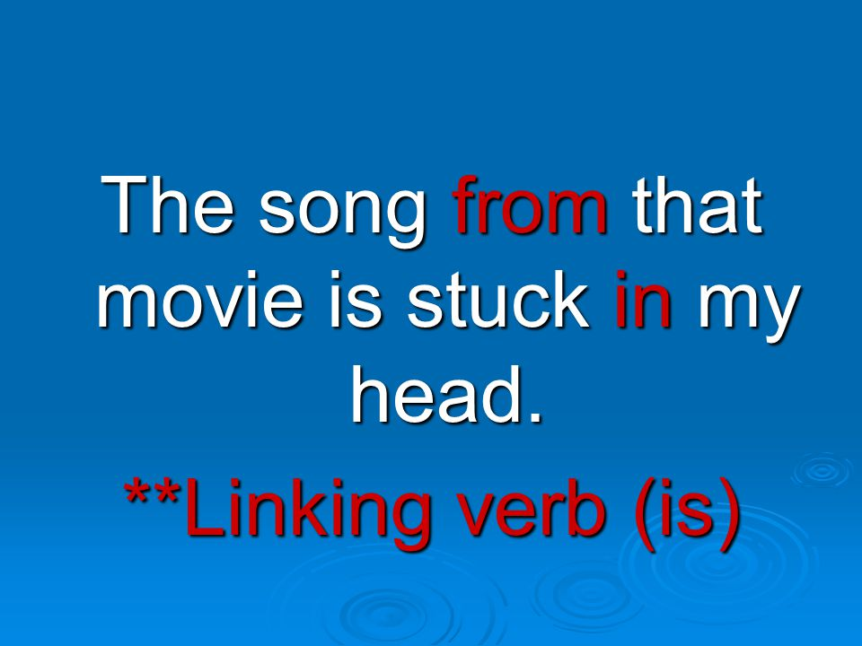 **Linking verb (is)