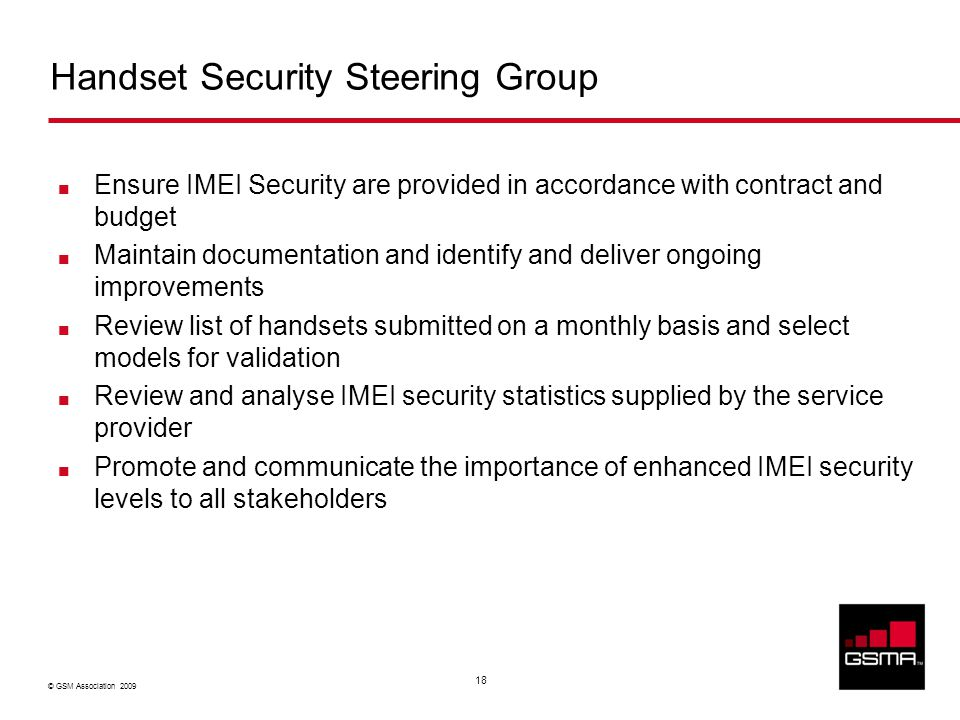 © GSM Association 2009 18 Handset Security Steering Group Ensure IMEI Security are provided in accordance with contract and budget Maintain documentation and identify and deliver ongoing improvements Review list of handsets submitted on a monthly basis and select models for validation Review and analyse IMEI security statistics supplied by the service provider Promote and communicate the importance of enhanced IMEI security levels to all stakeholders