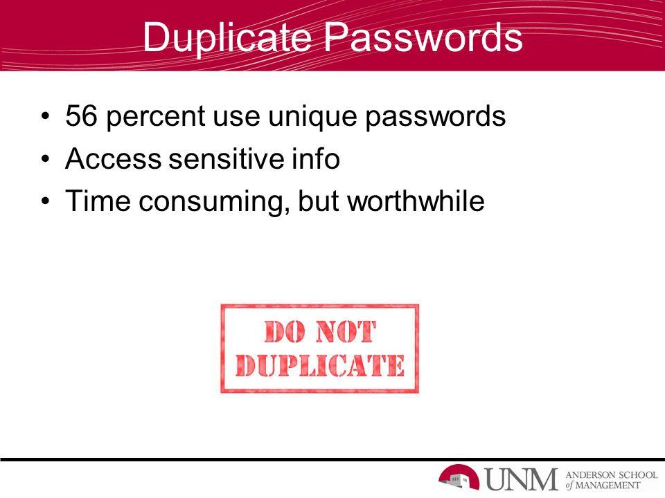 Duplicate Passwords 56 percent use unique passwords Access sensitive info Time consuming, but worthwhile