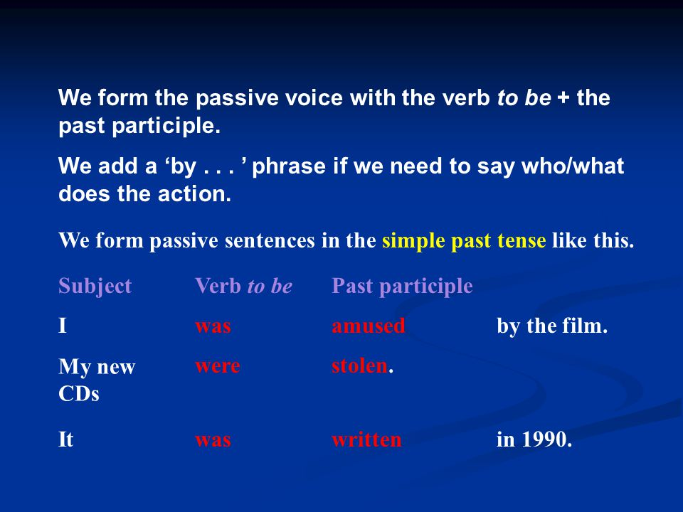 We form the passive voice with the verb to be + the past participle.