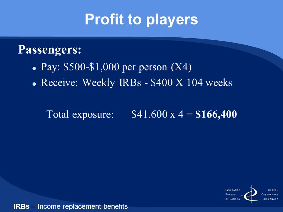 Profit to players Passengers: Pay: $500-$1,000 per person (X4) Receive: Weekly IRBs - $400 X 104 weeks Total exposure: $41,600 x 4 = $166,400 IRBs – Income replacement benefits
