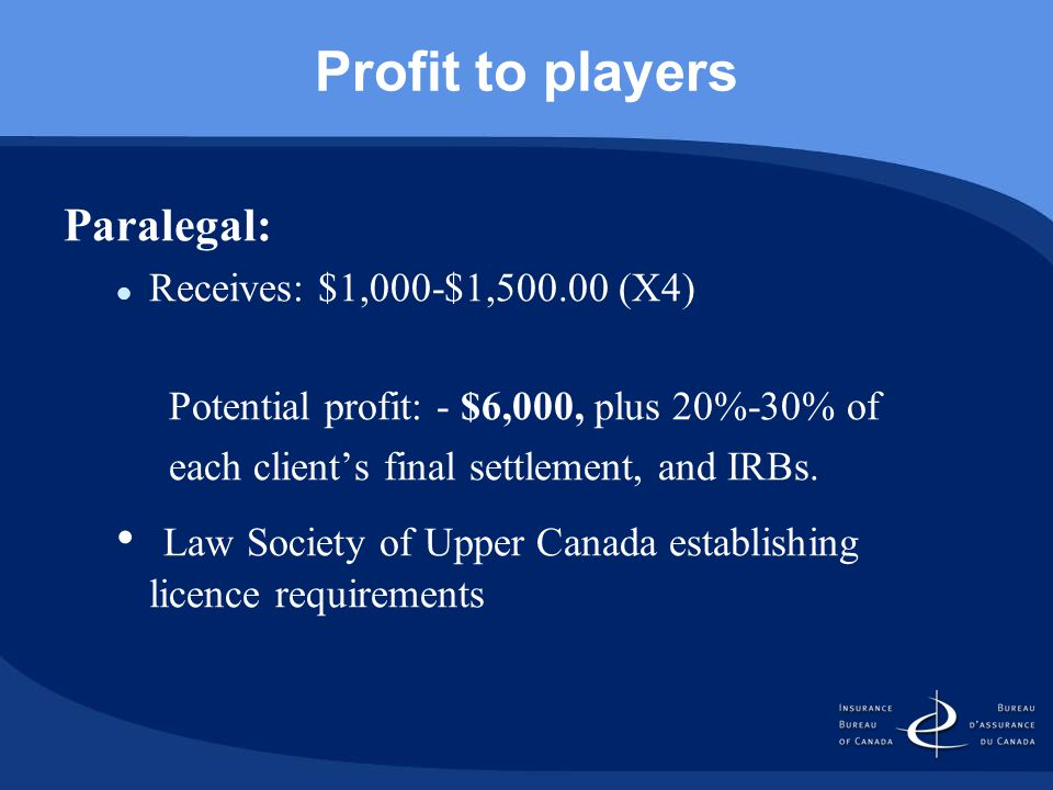 Profit to players Paralegal: Receives: $1,000-$1,500.00 (X4) Potential profit: - $6,000, plus 20%-30% of each client's final settlement, and IRBs.