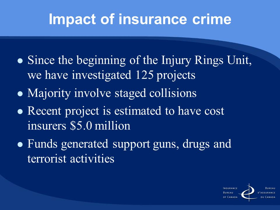 Impact of insurance crime Since the beginning of the Injury Rings Unit, we have investigated 125 projects Majority involve staged collisions Recent project is estimated to have cost insurers $5.0 million Funds generated support guns, drugs and terrorist activities