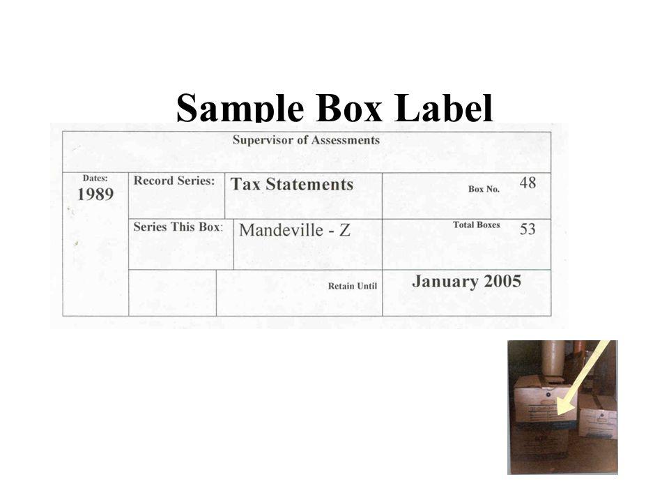 Sample Box Label
