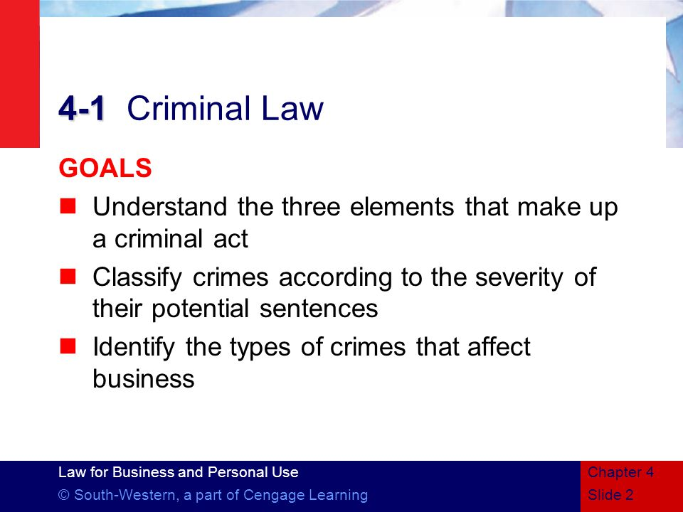 Law for Business and Personal Use © South-Western, a part of Cengage LearningSlide 2 Chapter 4 4-1 4-1Criminal Law GOALS Understand the three elements that make up a criminal act Classify crimes according to the severity of their potential sentences Identify the types of crimes that affect business