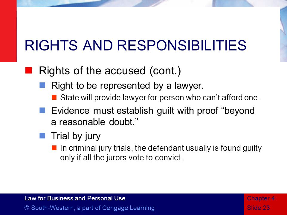 Law for Business and Personal Use © South-Western, a part of Cengage LearningSlide 23 Chapter 4 RIGHTS AND RESPONSIBILITIES Rights of the accused (cont.) Right to be represented by a lawyer.