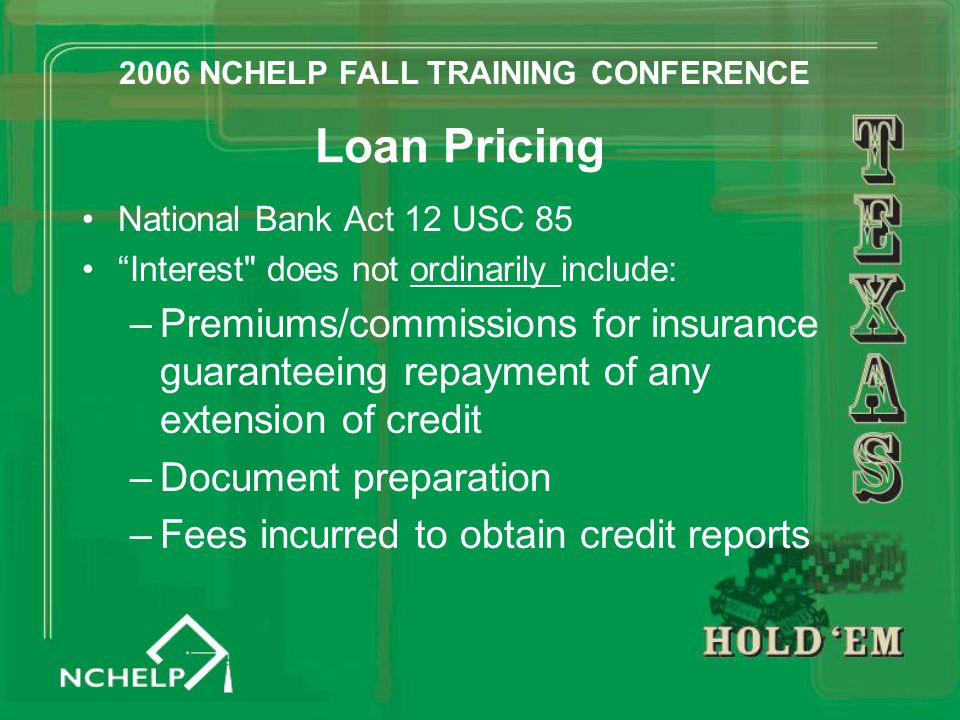 "Loan Pricing National Bank Act 12 USC 85 ""Interest"
