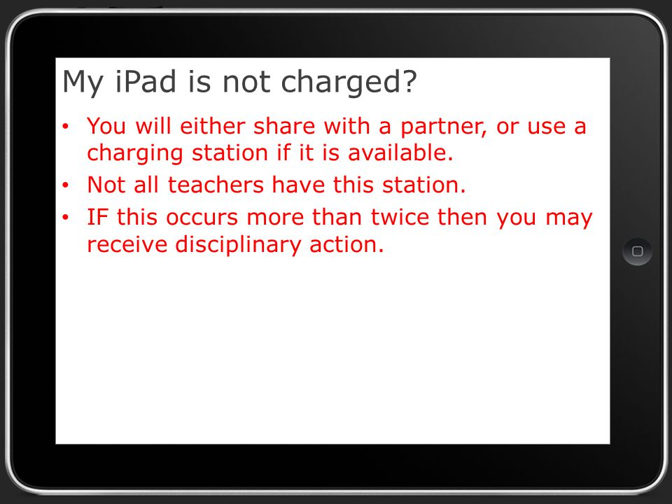 My iPad is not charged.