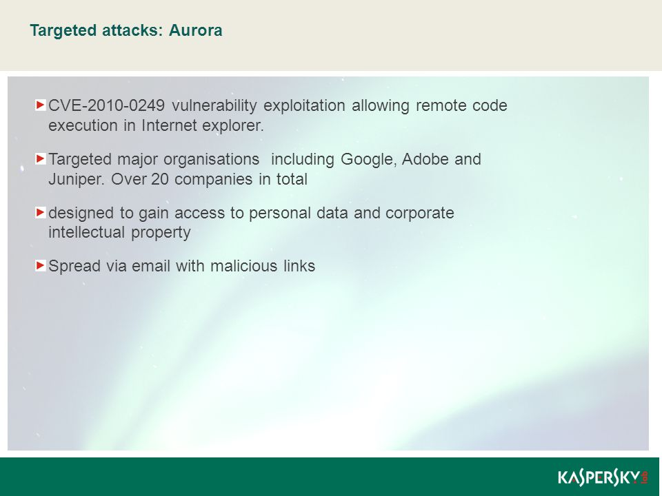 Targeted attacks: Aurora CVE-2010-0249 vulnerability exploitation allowing remote code execution in Internet explorer. Targeted major organisations in