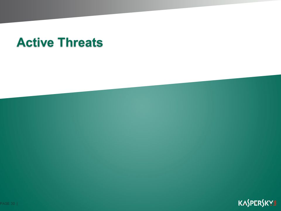 Active Threats: Conficker MS08-067 vulnerability exploitation Stops Web Access to IT Security Websites Connects to randomly generated Website for updates Looks for weak passwords on networks Spreads via removable drives P2P communication for updates Use of strong new encryption Spam and Rogue AV Distribution