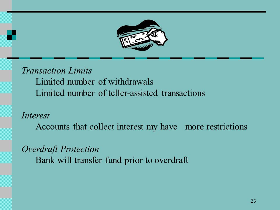 23 Transaction Limits Limited number of withdrawals Limited number of teller-assisted transactions Interest Accounts that collect interest my have mor