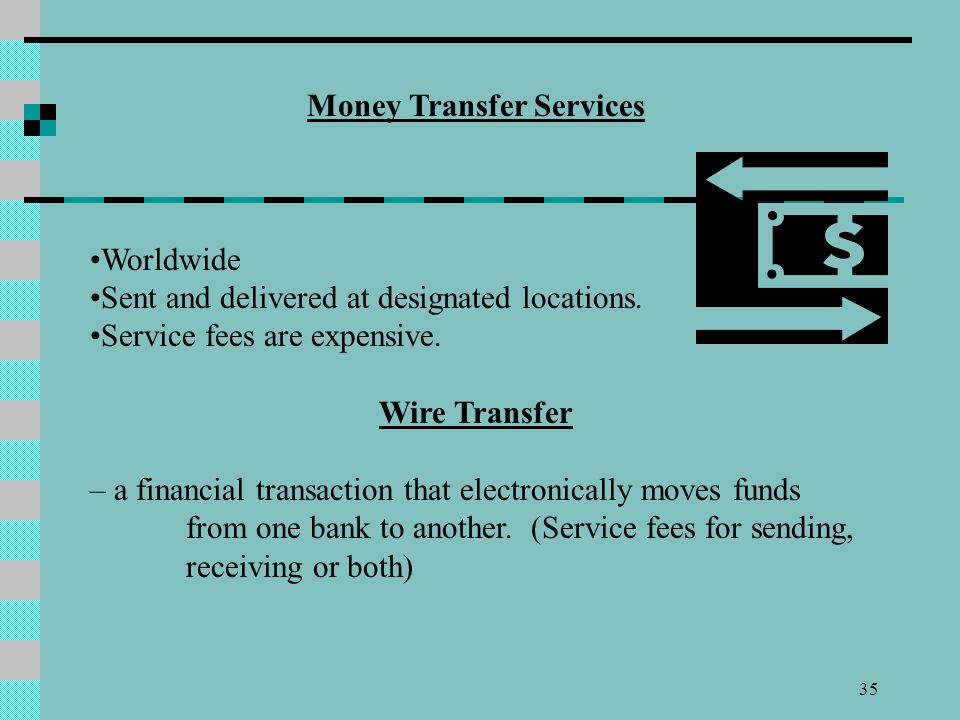 35 Money Transfer Services Worldwide Sent and delivered at designated locations. Service fees are expensive. Wire Transfer – a financial transaction t