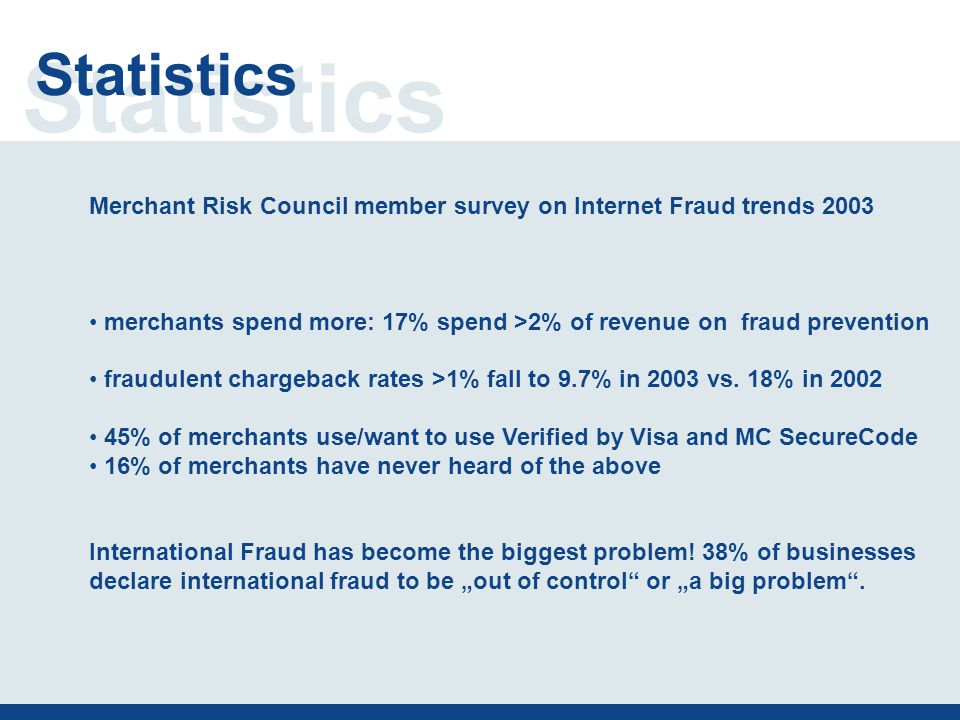 Statistics Merchant Risk Council member survey on Internet Fraud trends 2003 merchants spend more: 17% spend >2% of revenue on fraud prevention fraudulent chargeback rates >1% fall to 9.7% in 2003 vs.
