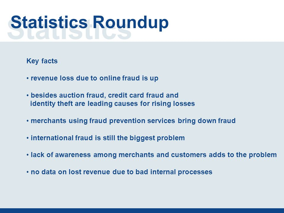 Statistics Statistics Roundup Key facts revenue loss due to online fraud is up besides auction fraud, credit card fraud and identity theft are leading causes for rising losses merchants using fraud prevention services bring down fraud international fraud is still the biggest problem lack of awareness among merchants and customers adds to the problem no data on lost revenue due to bad internal processes