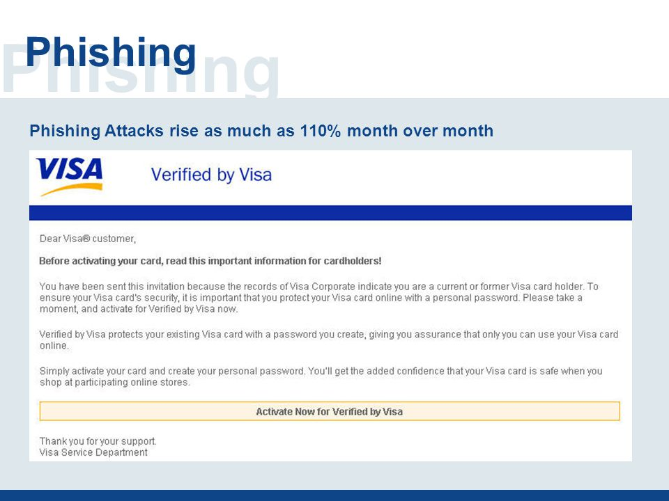 Phishing Phishing Attacks rise as much as 110% month over month