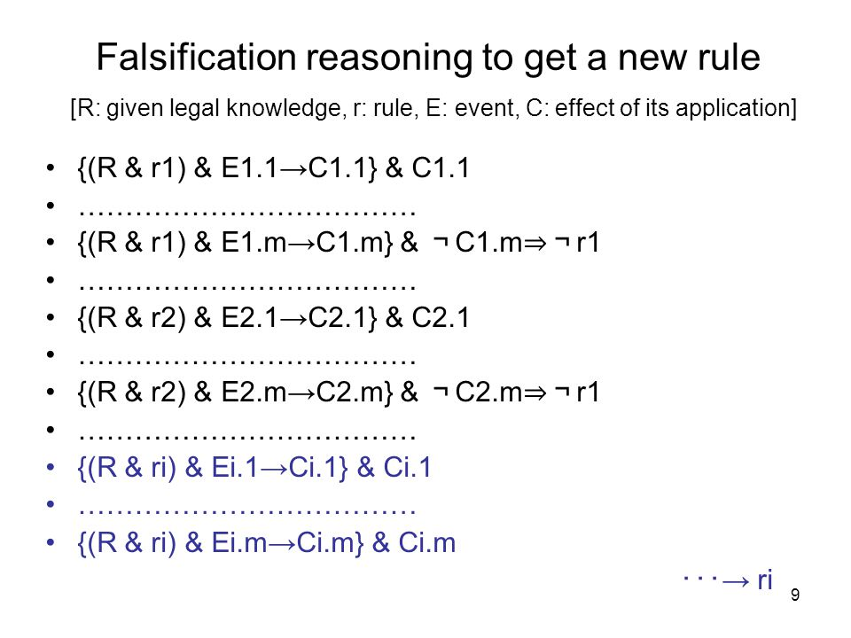9 Falsification reasoning to get a new rule [R: given legal knowledge, r: rule, E: event, C: effect of its application] {(R & r1) & E1.1→C1.1} & C1.1 ……………………………… {(R & r1) & E1.m→C1.m} & ¬ C1.m ⇒¬ r1 ……………………………… {(R & r2) & E2.1→C2.1} & C2.1 ……………………………… {(R & r2) & E2.m→C2.m} & ¬ C2.m ⇒¬ r1 ……………………………… {(R & ri) & Ei.1→Ci.1} & Ci.1 ……………………………… {(R & ri) & Ei.m→Ci.m} & Ci.m ・・・ → ri