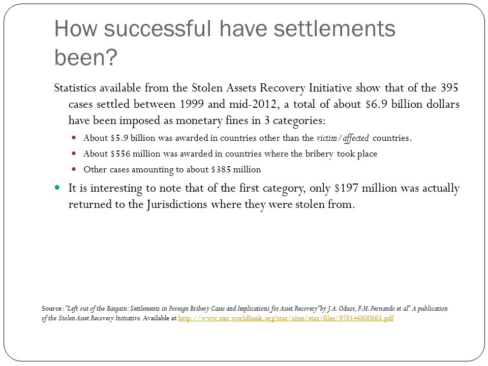 How successful have settlements been.