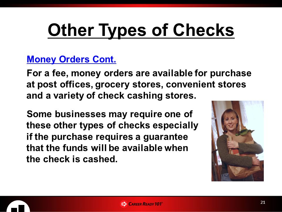 21 Other Types of Checks Money Orders Cont.