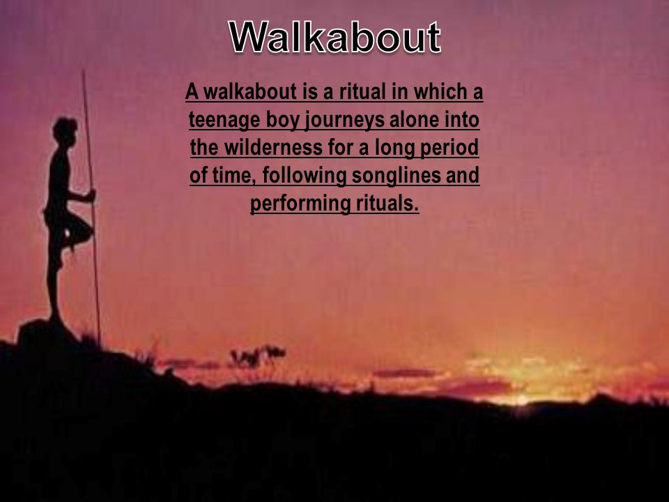 A walkabout is a ritual in which a teenage boy journeys alone into the wilderness for a long period of time, following songlines and performing ritual