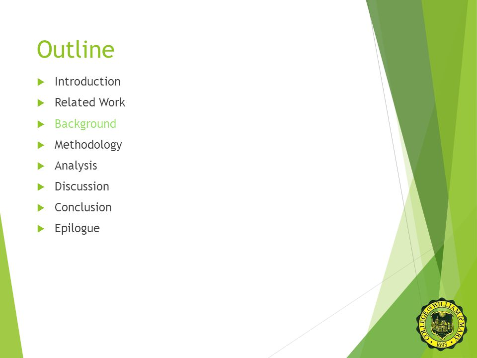 Outline  Introduction  Related Work  Background  Methodology  Analysis  Discussion  Conclusion  Epilogue